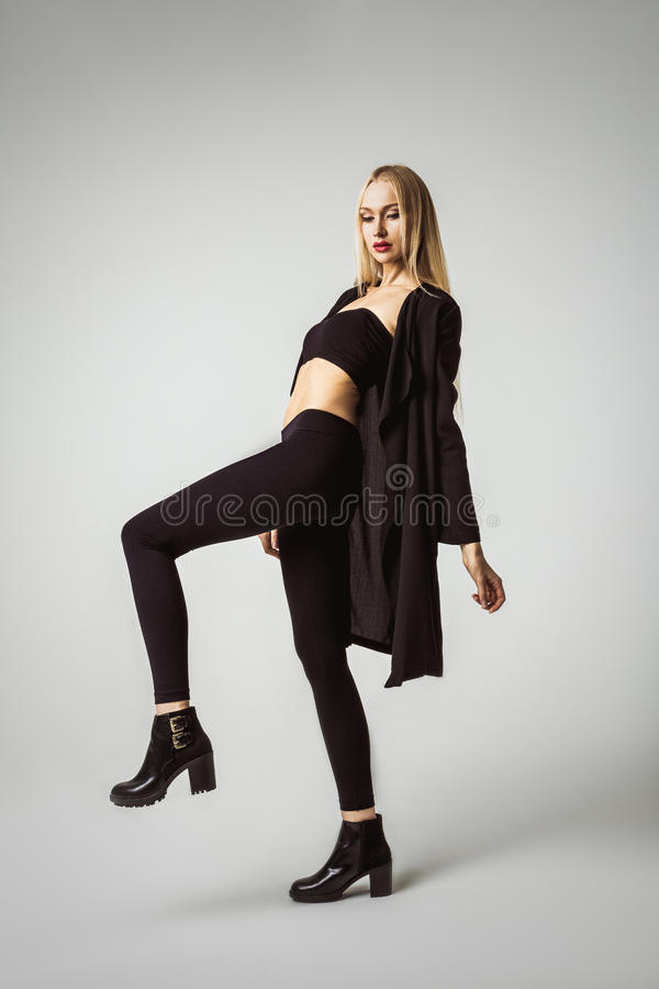 Fashion Model Woman In Casual Style Wear royalty free stock image