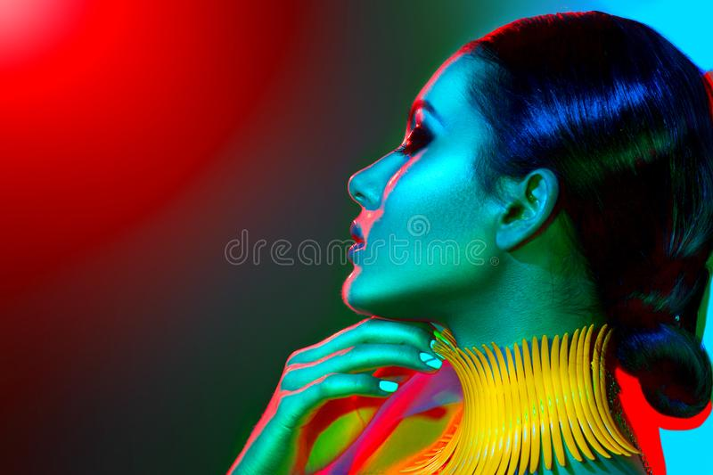 Download Fashion Model Woman In Colorful Bright Lights Stock Image - Image: 101973597