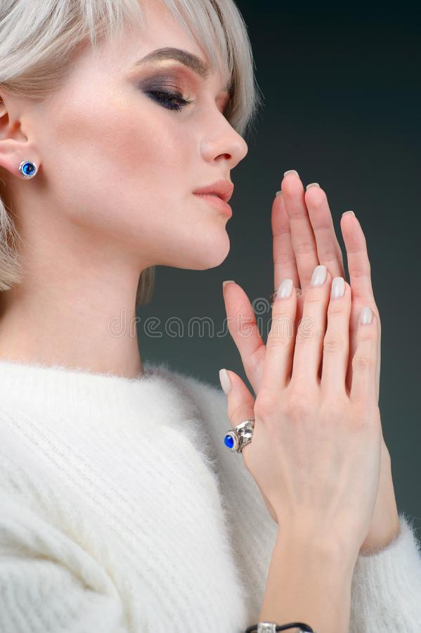 Fashion model woman demonstrated collection luxury accessory and jewelry. The Fashion model woman demonstrated collection luxury accessory and jewelry stock image