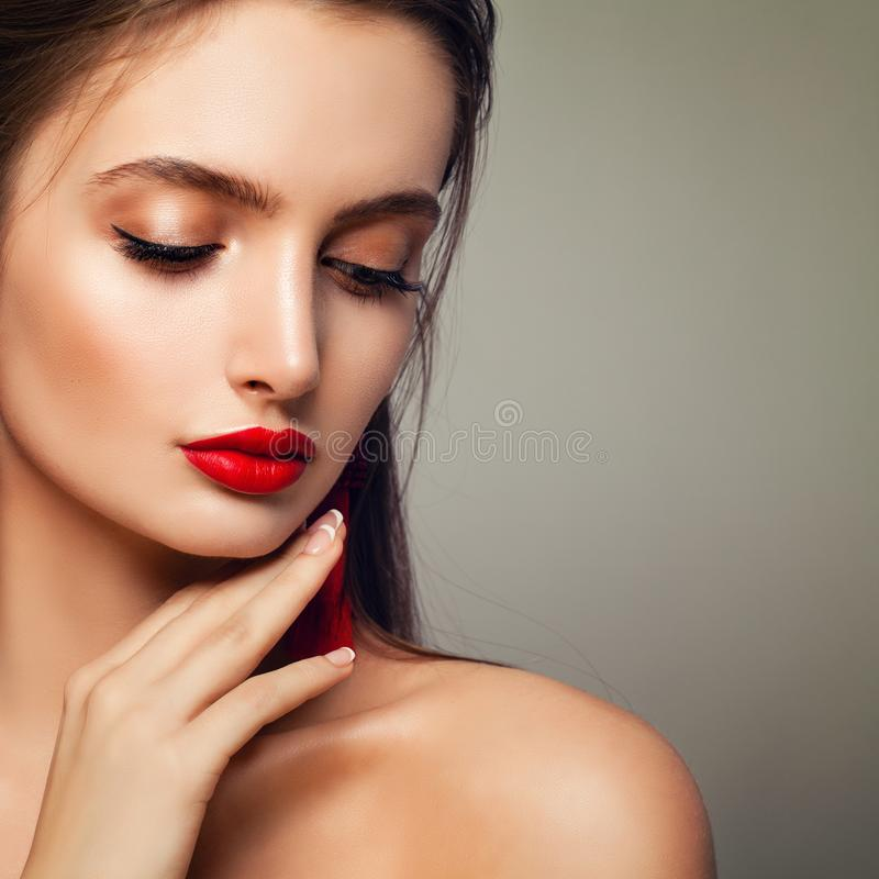 Fashion Model Woman with Perfect Makeup, Closed eyes. royalty free stock photo