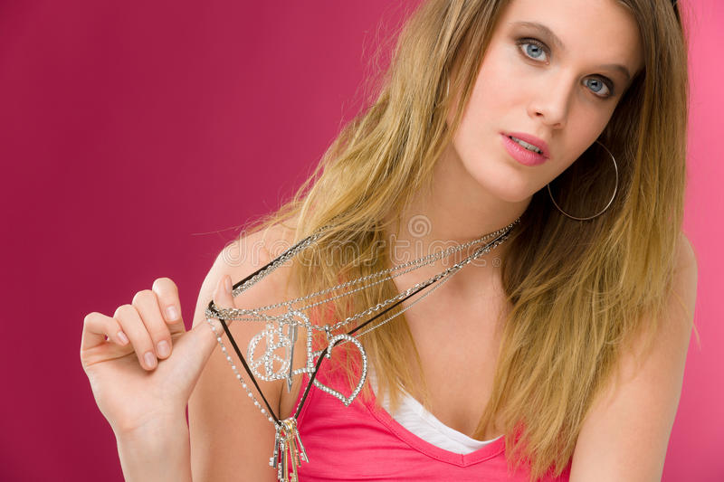 Fashion model - young woman in pink stock images
