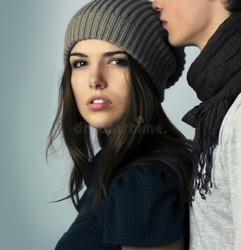 Fashion models as couple hugging stock photography
