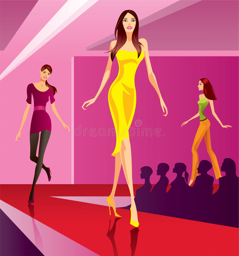 Fashion models on review stock illustration
