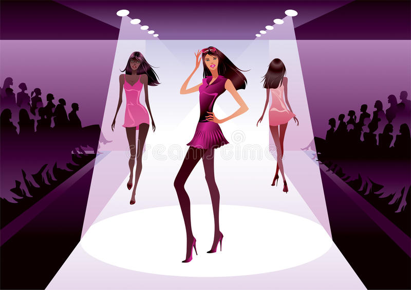 Fashion models on review royalty free illustration