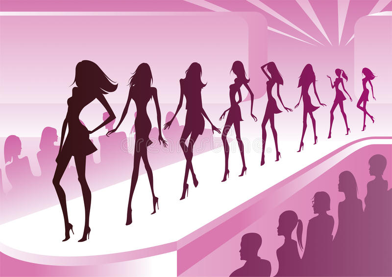 Fashion models show new clothes vector illustration