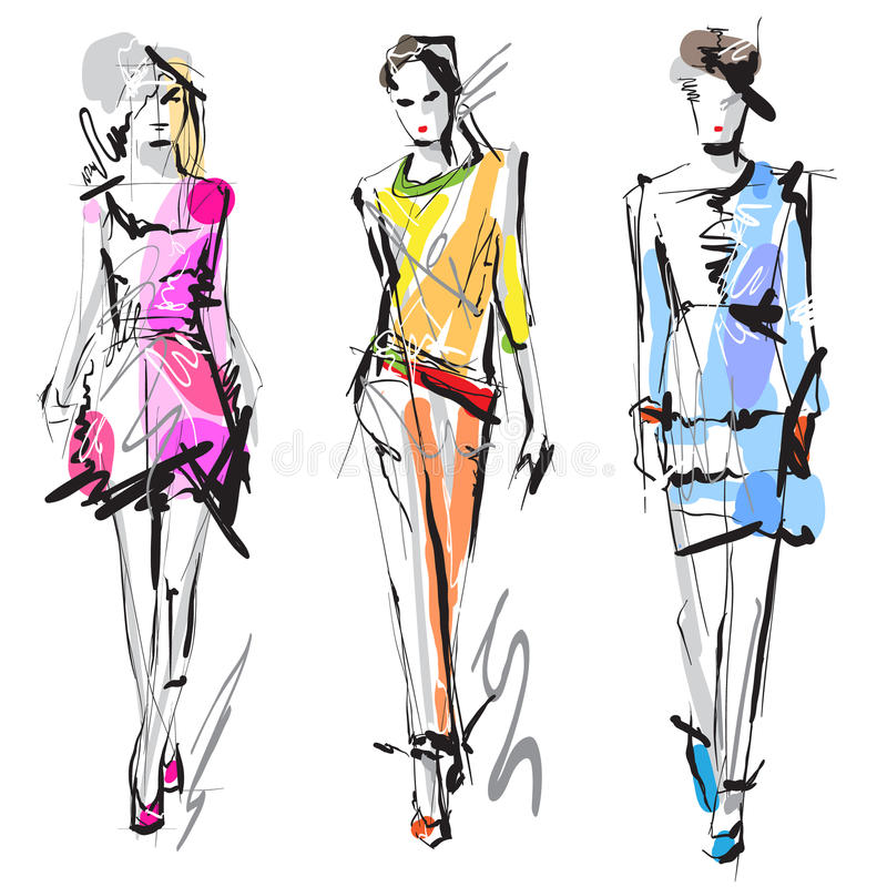 Fashion models. Sketch. Hand drawn woman fashion models. Scetch vector illustration