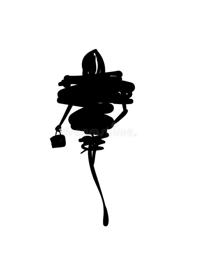 Fashion models sketch hand drawn silhouette pop art vector illustration