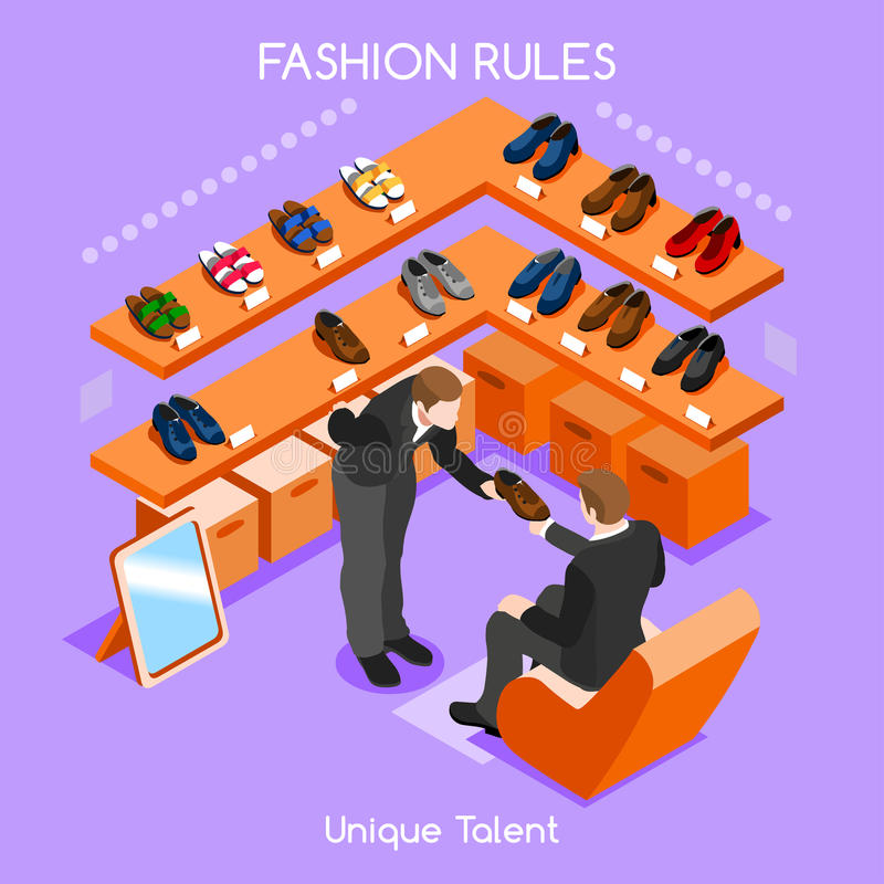 Fashion Moods 02 People Isometric. Flat 3d isometric fashion shopping abstract interior room shoes customers clients buyers workers staff bright colorful concept vector illustration