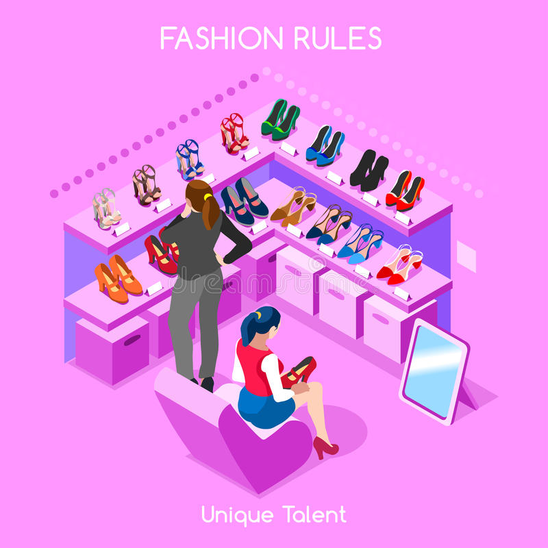 Fashion Moods 06 People Isometric. Flat 3d isometric fashion shopping abstract interior room shoes customers clients buyers workers staff bright colorful concept stock illustration