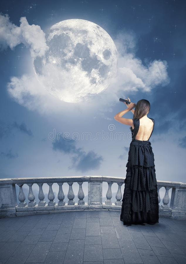 Fashion and moon royalty free stock image