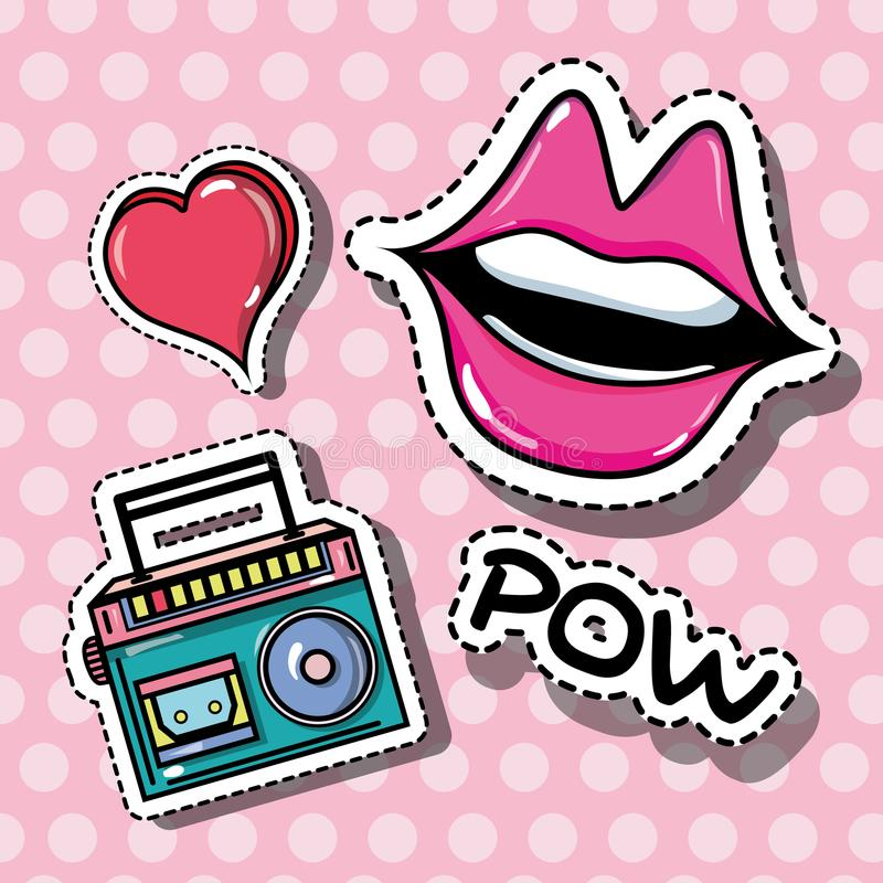 Fashion mouth and radio pop art patches. Vector illustration stock illustration