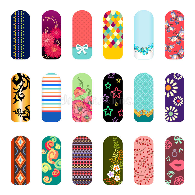 Fashion nail art. Set of fashion nail art designs for beauty salon vector illustration