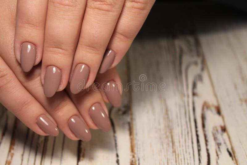 Fashion nails design manicure, best color of 2018 stock photos