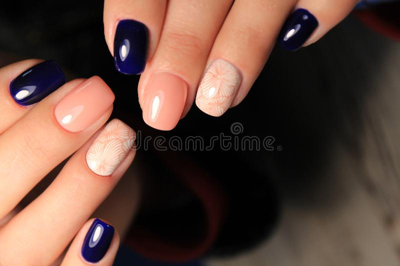 Fashion nails design manicure, best color of 2018 royalty free stock photography