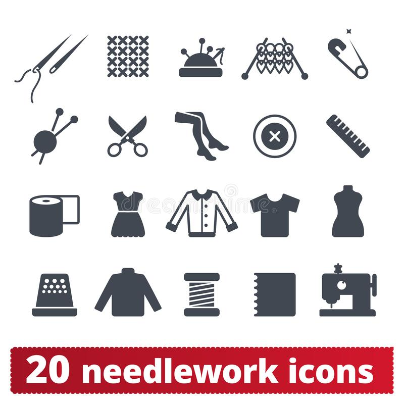Fashion, Needlework, Sewing And Knitting Icons royalty free illustration