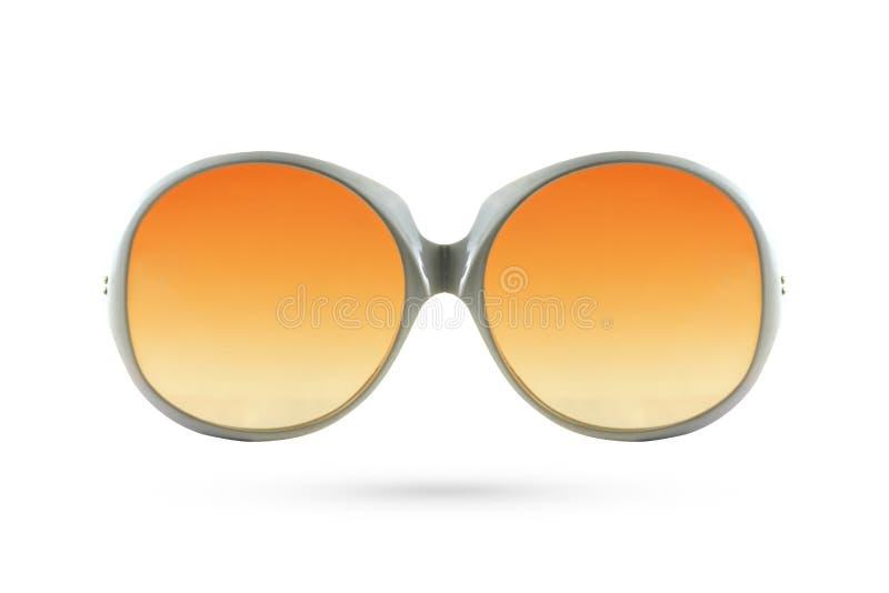 Fashion orange glasses style plastic-framed on white background. royalty free stock photography