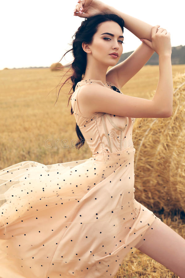 Girl with dark hair in elegant dress posing on the hay royalty free stock photos