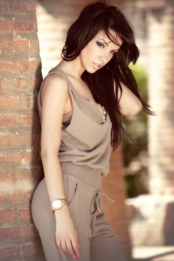 Fashion outdoor portrait of beautiful young woman stock images