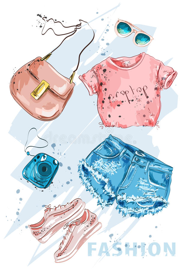 Fashion outfit. Stylish trendpy clothing: shorts, crop top, bag, shoes, sunglasses and photo camera. Fashion summer girl clothes. Fashion outfit. Stylish stock illustration