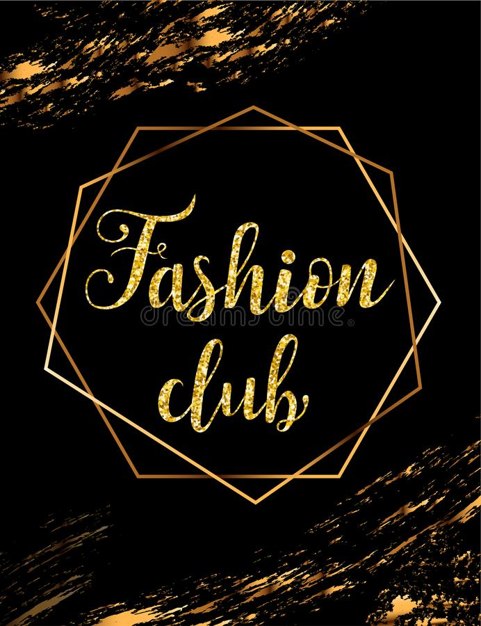 Fashion party vector poster with gold headline stock illustration