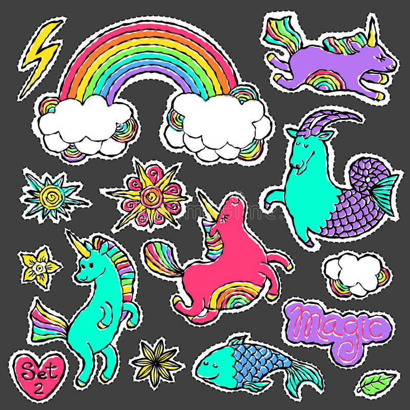 Fashion patch badge elements in cartoon 80s-90s comic style. Set modern trend doodle pop art sketch. Fashion patch badge elements in cartoon 80s-90s comic style vector illustration