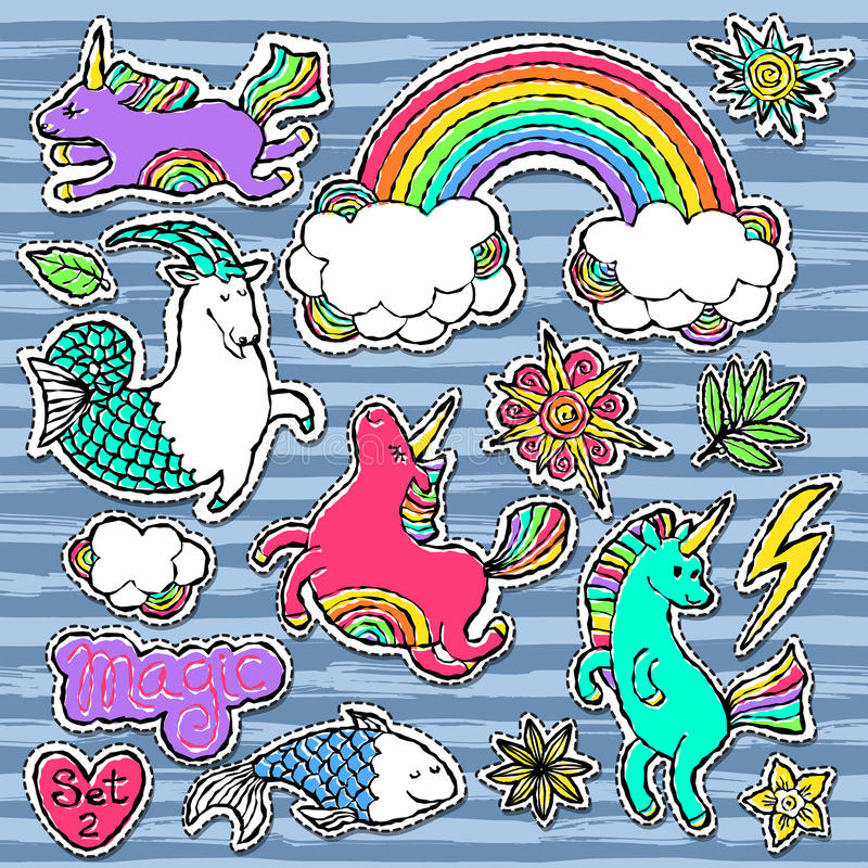 Fashion patch badge elements in cartoon 80s-90s comic style. Set modern trend doodle pop art sketch. Fashion patch badge elements in cartoon 80s-90s comic style royalty free illustration