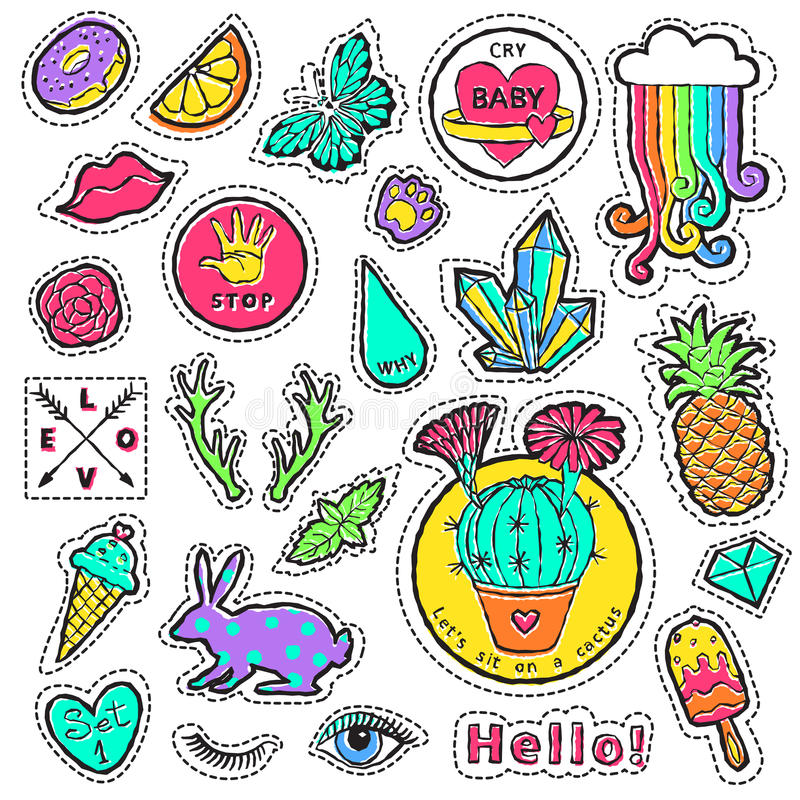 Fashion patch badge elements in cartoon 80s-90s comic style. Set modern trend doodle pop art sketch. Vector clip art illustration isolated royalty free illustration
