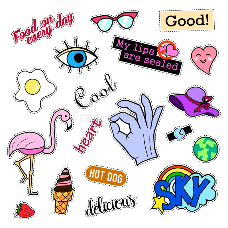 Fashion patch badges. Big set. Stickers, pins, embroidery, patches and handwritten notes collection in cartoon 80s-90s stock illustration