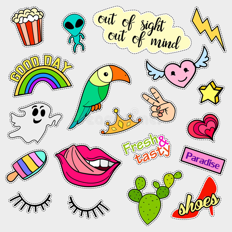 Fashion patch badges. Big set. Stickers, pins, patches and handwritten notes collection in cartoon 80s-90s comic style stock illustration