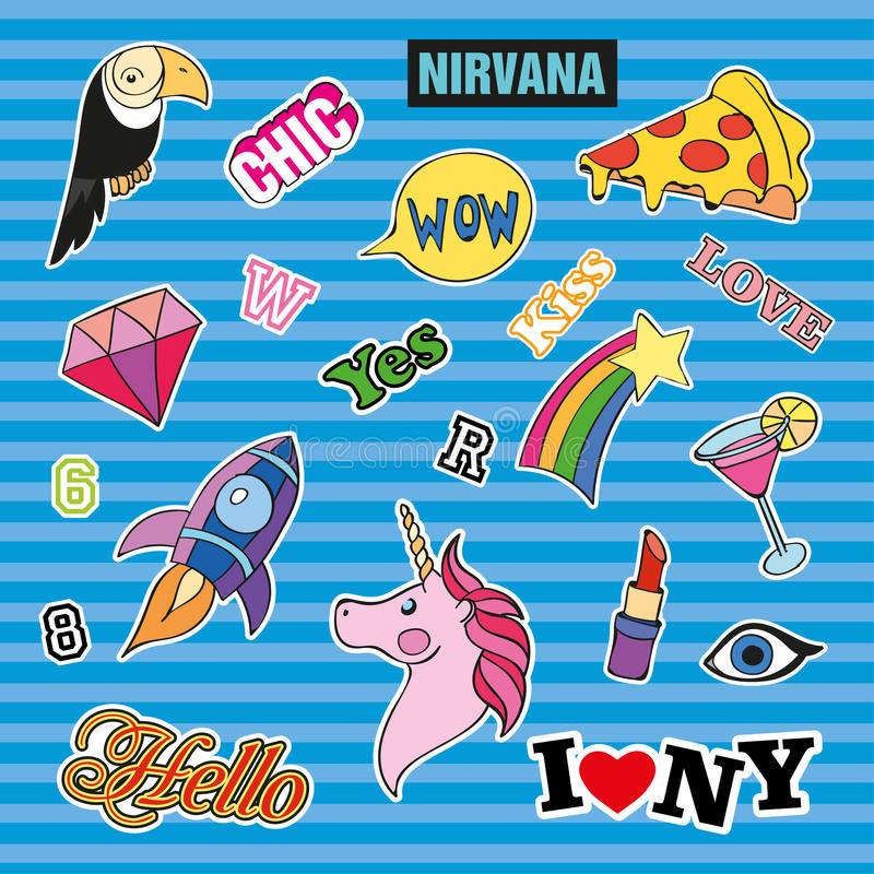 Fashion patch badges with different elements. Set of stickers, pins, patches and handwritten notes collection in cartoon vector illustration