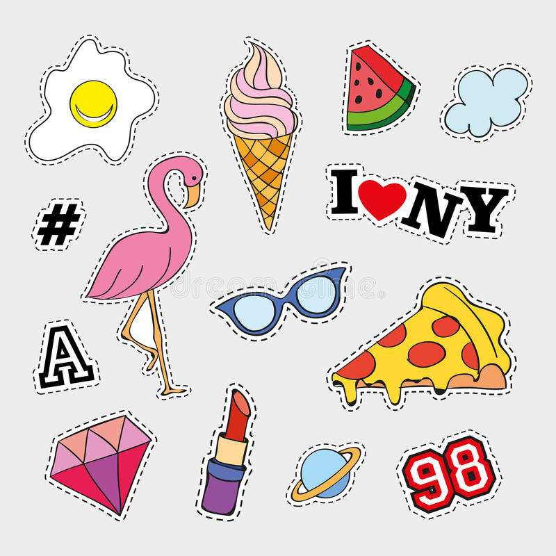 Fashion patch badges with different elements. Set of stickers, pins, patches and handwritten notes collection in cartoon stock photography