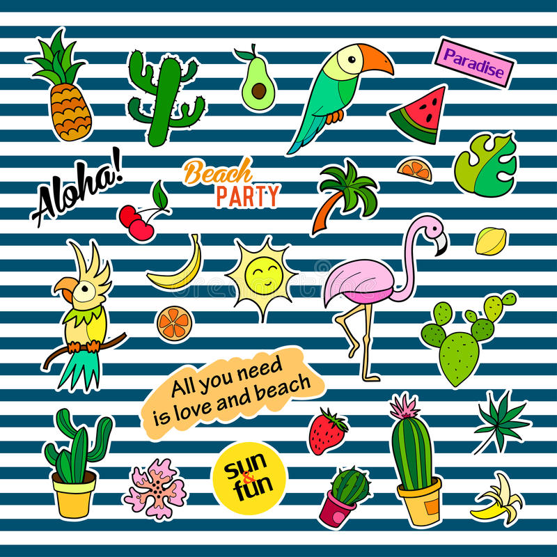 Fashion patch badges with different elements. Tropic. Set of stickers, pins, patches and handwritten notes collection stock illustration