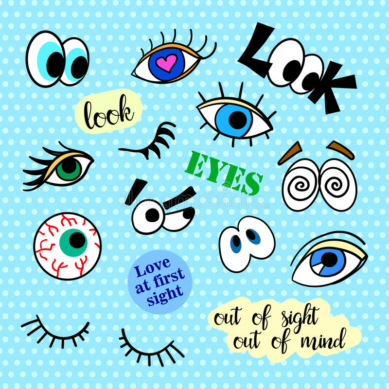 Fashion patch badges. Eyes set. Pop Art. Stickers, pins, patches and handwritten notes collection in cartoon 80s-90s. Comic style. Trend. Vector illustration stock illustration