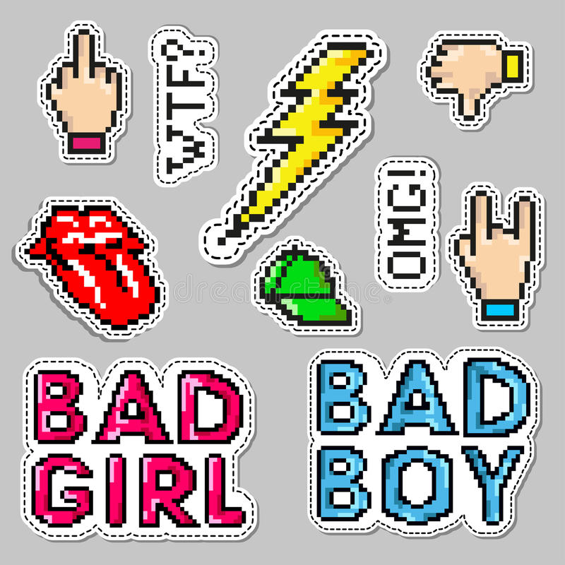 Fashion patch badges with lips, hat, bad boy, girl, lightning and fingers gestures. Vector illustration isolated on stock illustration