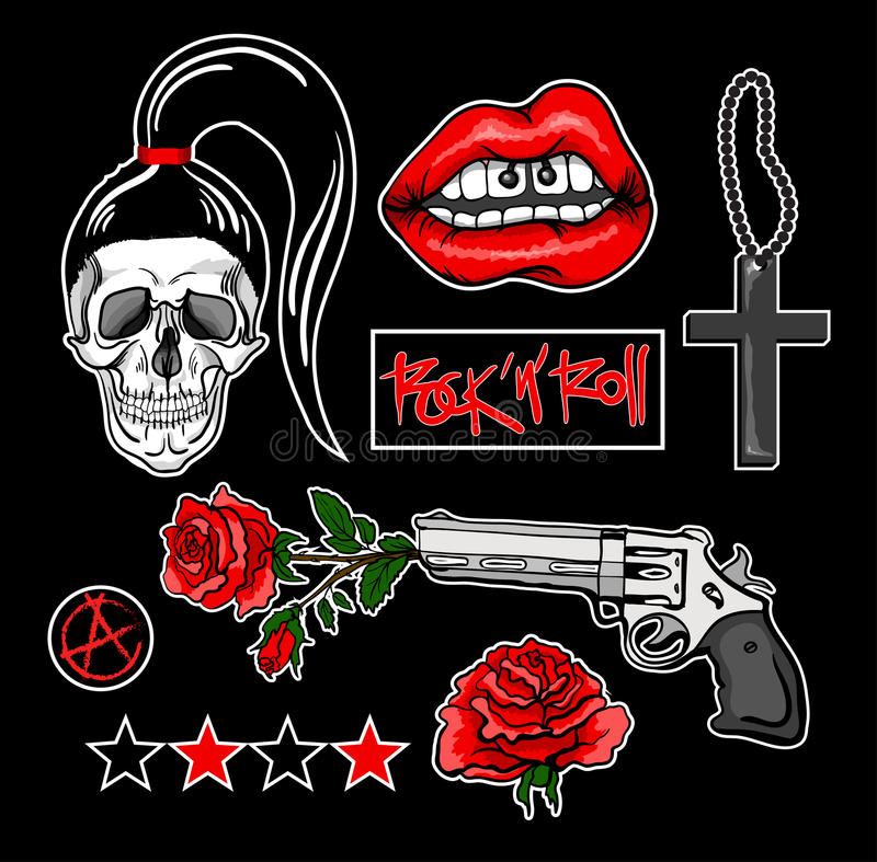 Fashion patch badges with lips, skull,cross, rose, gun and other elements. Vecto stock illustration