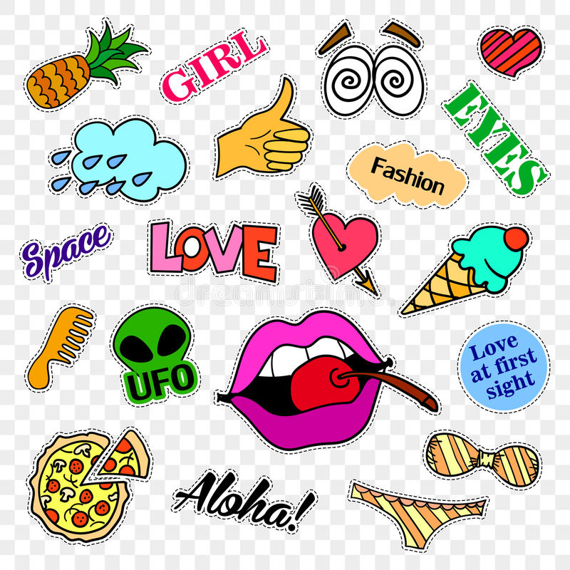 Fashion patch badges. Pop art set. Stickers, pins, patches and handwritten notes collection in cartoon 80s-90s comic. Fashion patch badges. Stickers, pins stock illustration