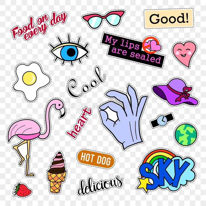 Fashion patch badges. Pop art set. Stickers, pins, patches and handwritten notes collection in cartoon 80s-90s comic. Fashion patch badges. Stickers, pins royalty free illustration
