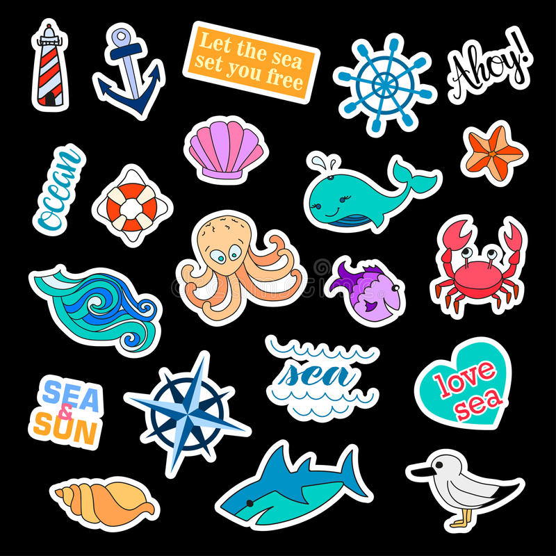 Fashion patch badges. Sea set. Stickers, pins, patches and handwritten notes collection in cartoon 80s-90s comic style royalty free illustration