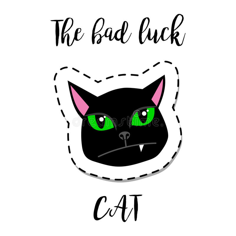Cat Stock Quote Prepossessing Fashion Patch Element Black Cat Stock Vector  Image 91376877