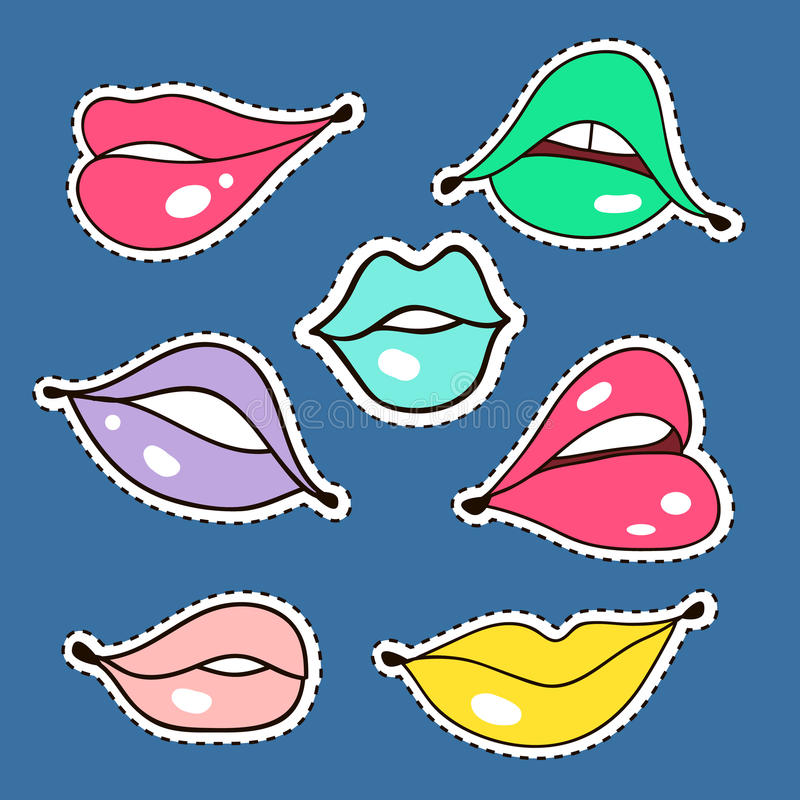 Fashion Patches of lips. Colorful set.  stock illustration