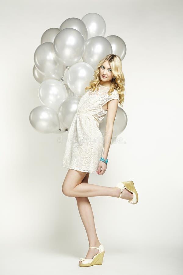 Fashion Photo Of Beautiful Woman With Balloon Girl Posing -8769