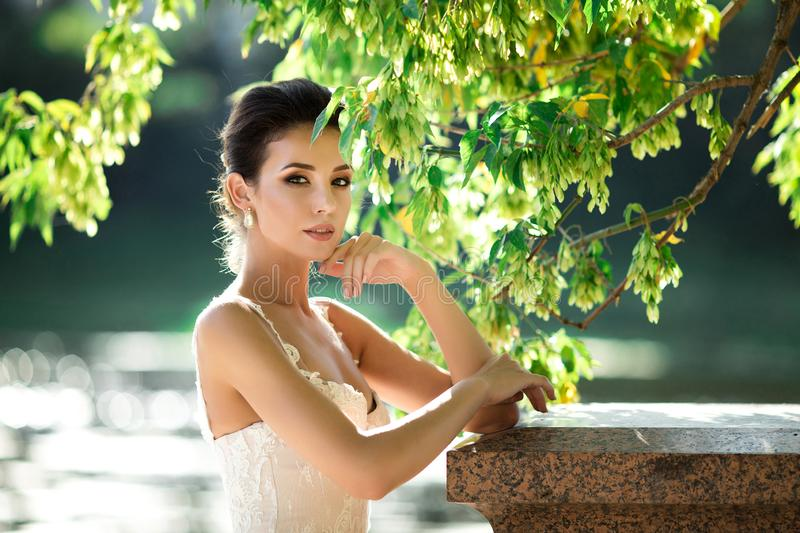 Fashion photo of beautiful woman with dark hair in luxurious wedding dress posing outdoor. Fashion photo of beautiful woman with dark hair in luxurious wedding royalty free stock photography