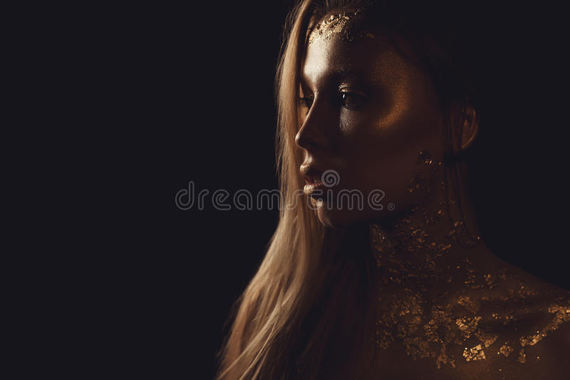 Fashion photo of a beautiful young woman. close up of beauty gold portrait girl. copyspace royalty free stock photos