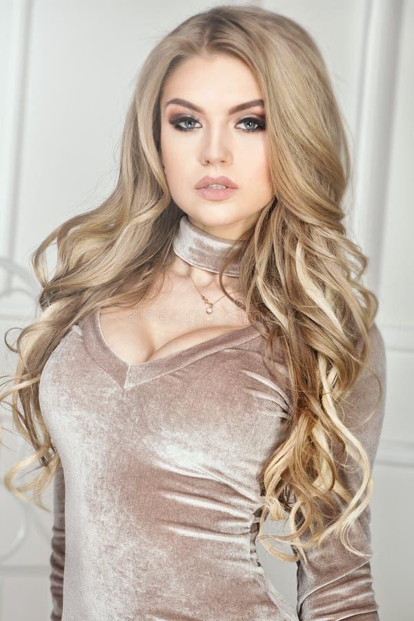 Fashion photo of elegant blonde woman. stock image