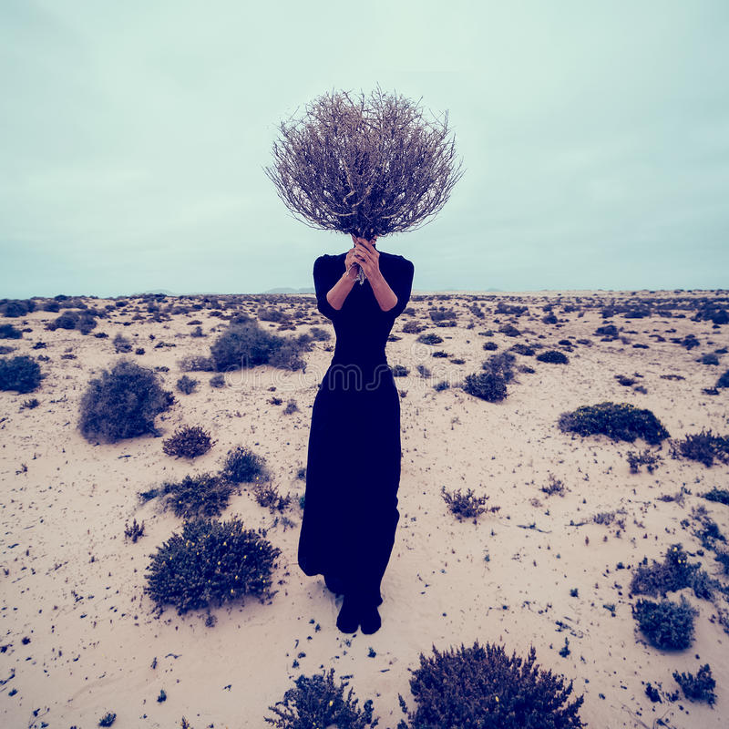 Fashion Photo. Girl in the desert with a bouquet dead branches stock photography
