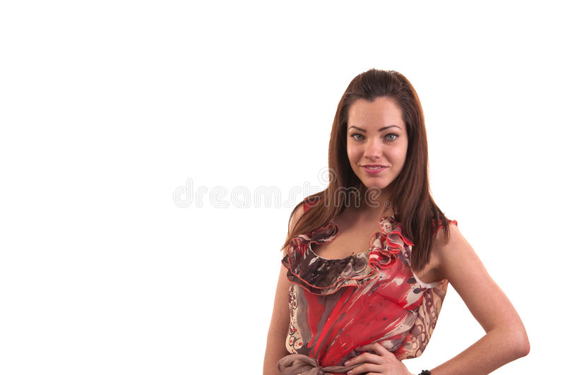 Fashion photo of young beautiful young woman against white background, studio photo, space for copy. Fashion photo of young beautiful young woman against white stock image