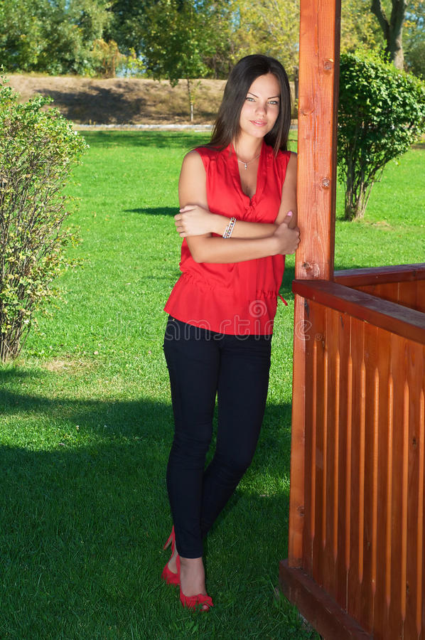 Download Fashion Picture Of A Young Beautiful Woman Leaned Against Wooden Stock Photo - Image: 32333090