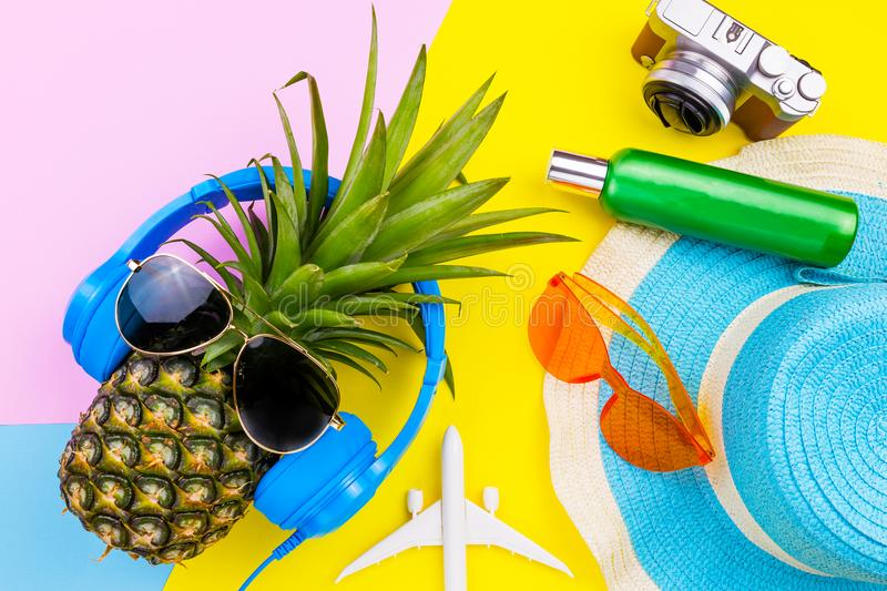 Fashion Pineapple. Bright Summer Color. Beach Clothes Accessories Outfit. Creative Art. Tropical fruit, Stylish Sunglasses. Minim royalty free stock image
