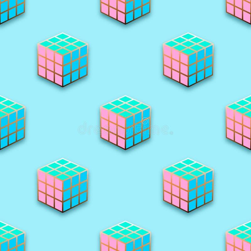 Fashion pins seamless pattern. Gem stone jewel cube with edging background stock illustration