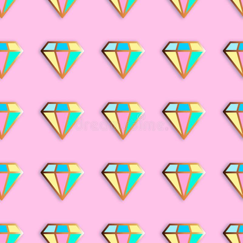 Fashion pins seamless pattern. Gem stone jewel with edging background vector illustration